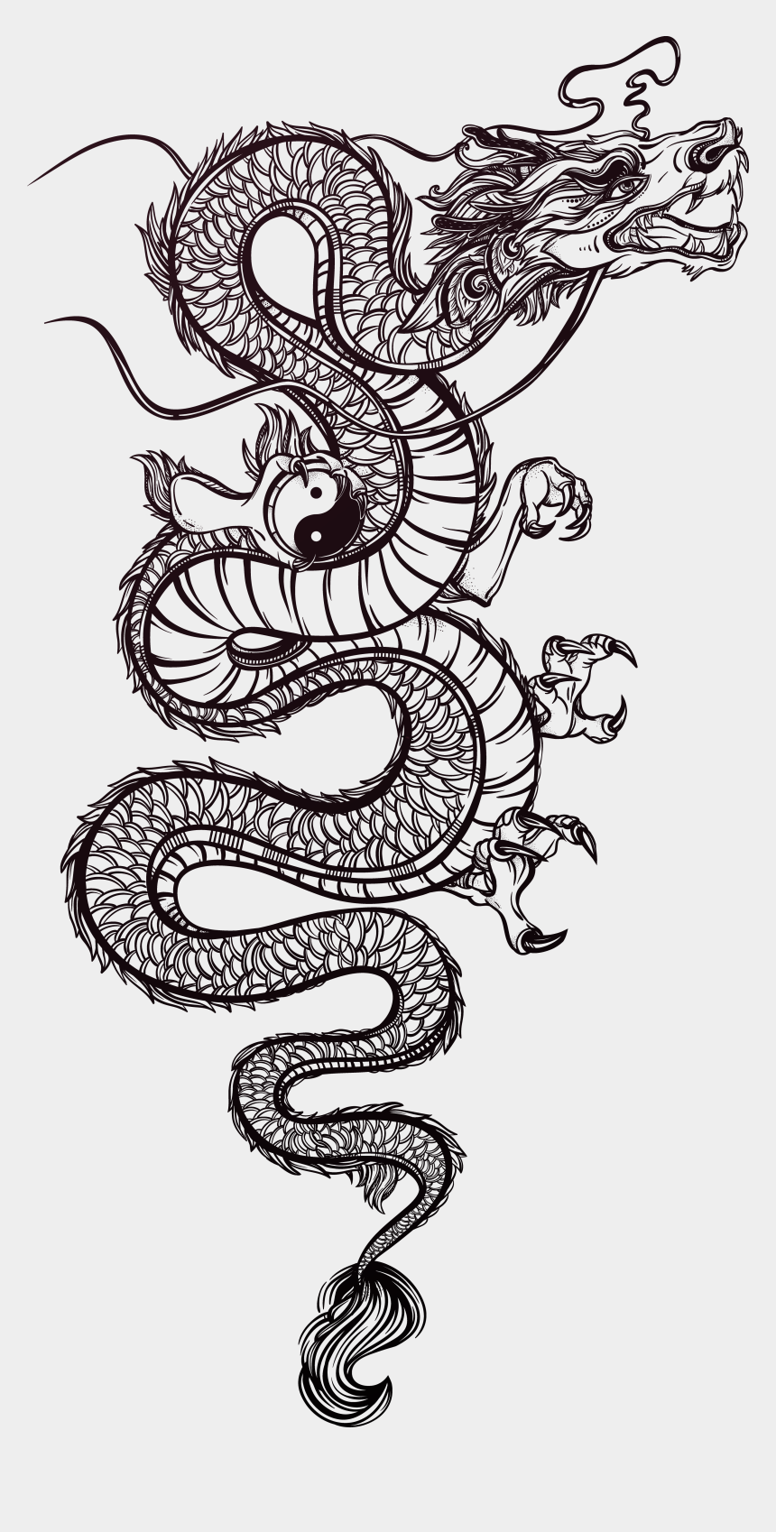 spray paint clipart, Cartoons - Tattoo Chinese Illustration Dragon Vector Hand Painted - Chinese Dragon Vector Png