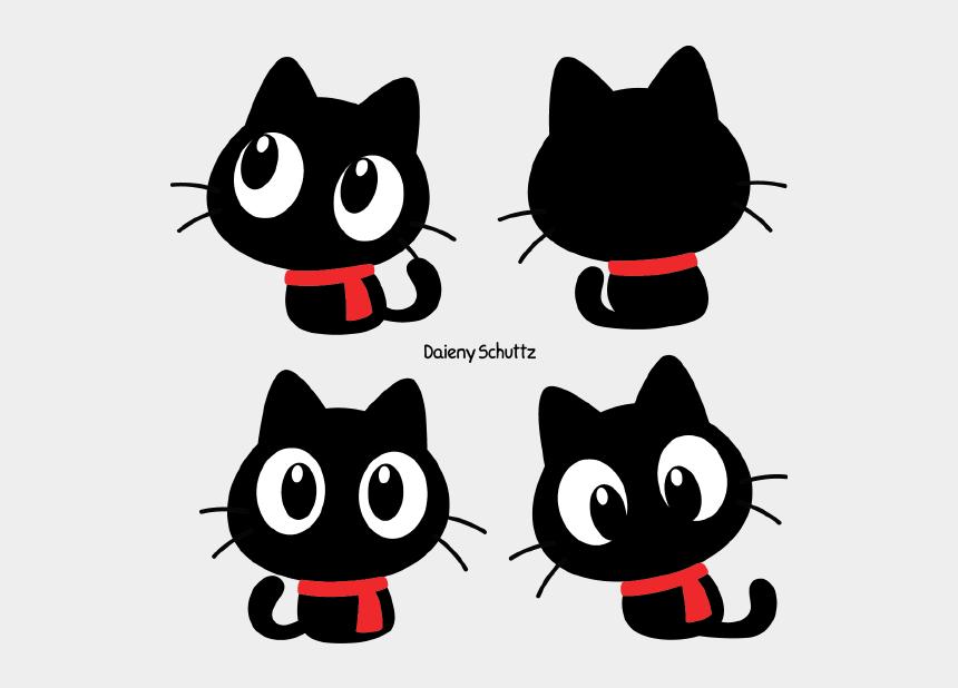 cute cat clipart, Cartoons - Black Cat Clipart Cute - Chibi Winter Black Cat