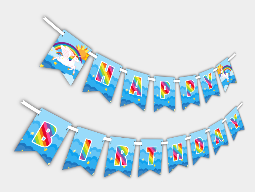 "happy birthday banner clipart, Cartoons - Rainbow Unicorn ""happy Birthday"" Party Banner - Birthday"