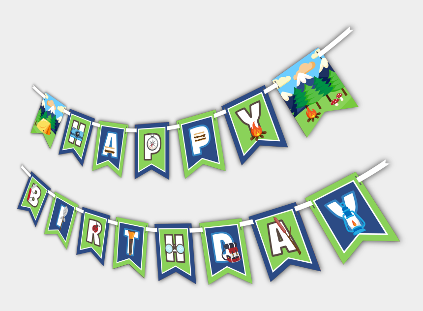 """happy birthday banner clipart, Cartoons - Camping Adventure """"happy Birthday"""" Party Banner - Birthday"""
