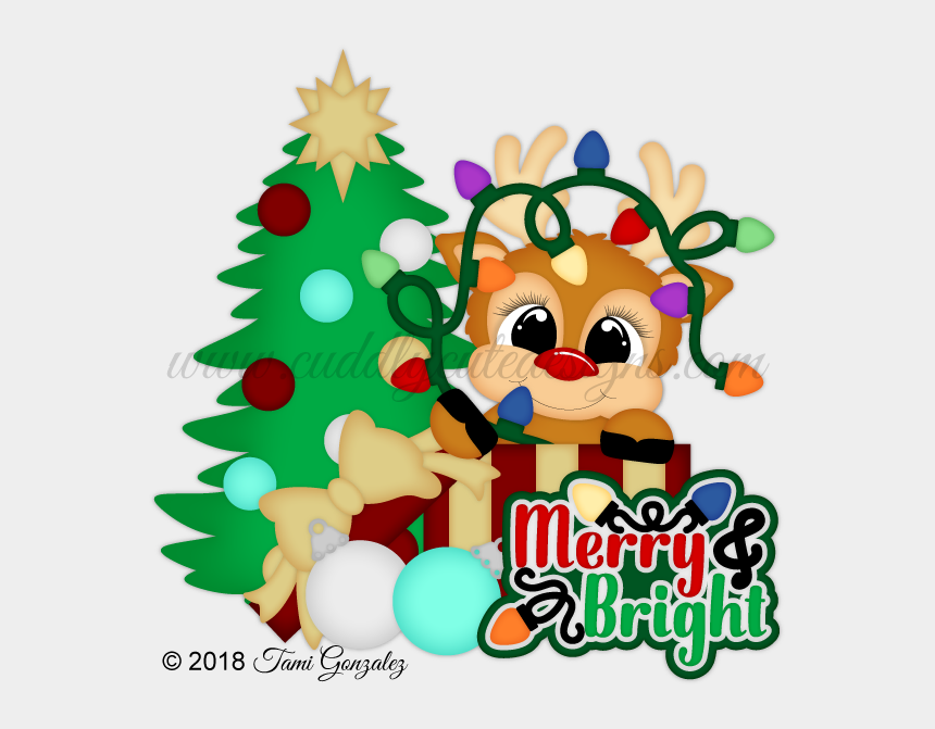 christmas house clipart, Cartoons - Reindeer Lights - Christmas Tree