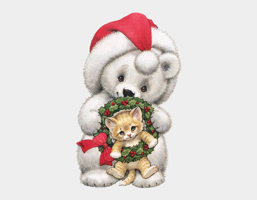 christmas animals clipart, Cartoons - Christmas Teddy Bear And Kitten Clip Art Valentine - Merry Christmas Quote For Daughter