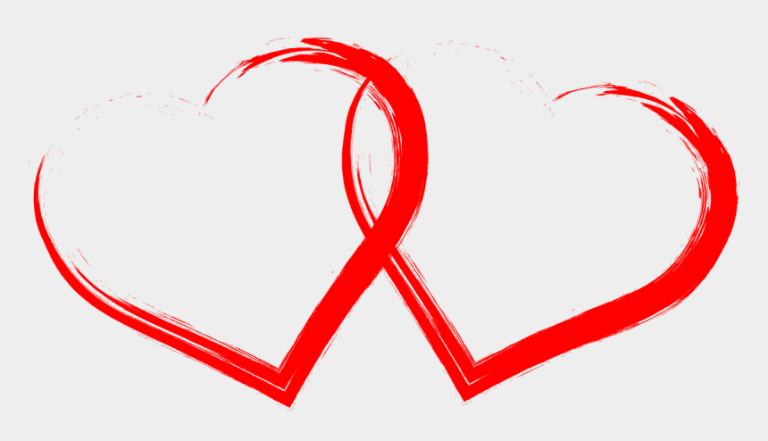 two hearts clipart, Cartoons - Two Hearts Drawn Red - Heart Images Png Hd
