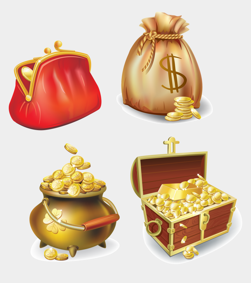 gold coins clipart, Cartoons - Gold Coin Icon - Gold Bars Treasure Chest