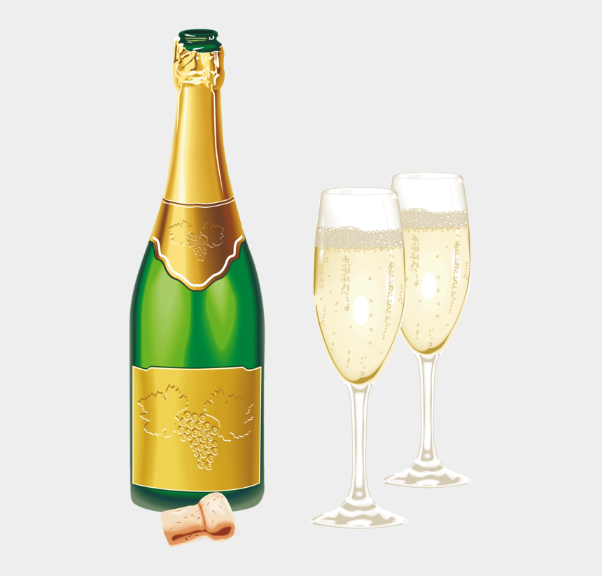 wine bottle clip art, Cartoons - Фотки Happy New Year Png, Wine Shipping, Shipping Boxes, - Champagne And Glasses Png