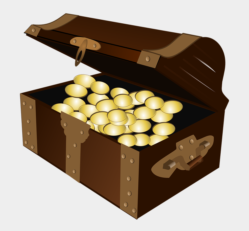 gold coins clipart, Cartoons - Open Treasure Chest Clipart