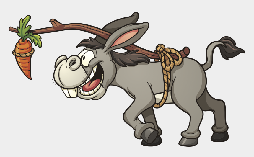 carrots clipart, Cartoons - Clipart Donkey Eagerly Moving Toward A Carrot Suspended - Carrot And Stick Donkey