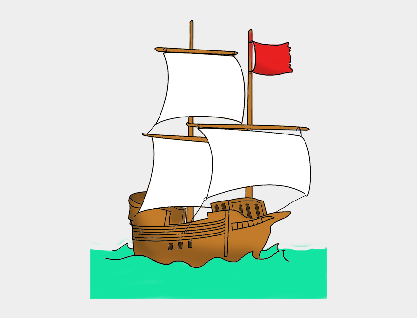 pirate ship clipart, Cartoons - Pirate Ship With Red Flag - Red Flag Pirate Ship