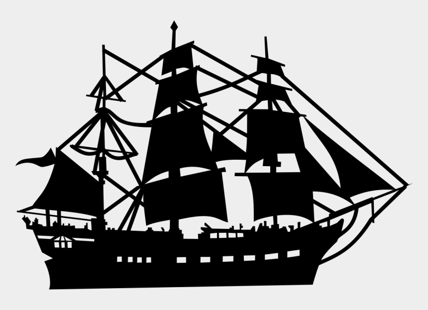 pirate ship clipart, Cartoons - Sailing Ship Clipart Silhouette - Pirate Ship Vector Png