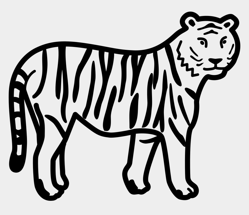 animal clip art, Cartoons - Animals Clipart Black And White - Clip Art Of Tiger