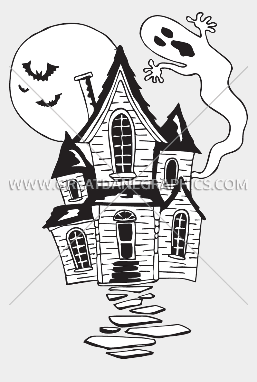 haunted house clip art, Cartoons - Haunted House Black And White Clipart - Cartoon Haunted House Black And White