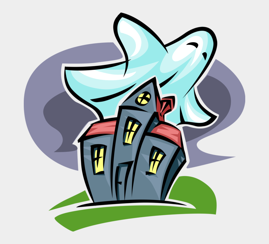 haunted house clip art, Cartoons - Vector Illustration Of Halloween Haunted House And - Clipart Haunted House Cartoon