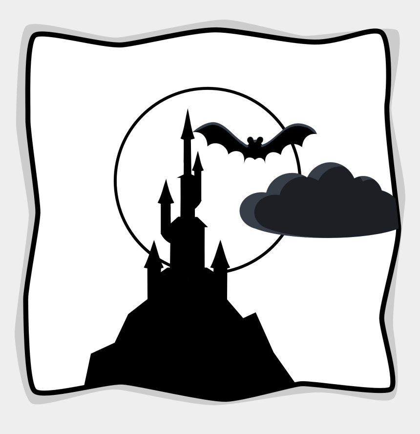 moon clip art, Cartoons - Harvest Moon Clipart Black And White - Black And White Spooky Castle