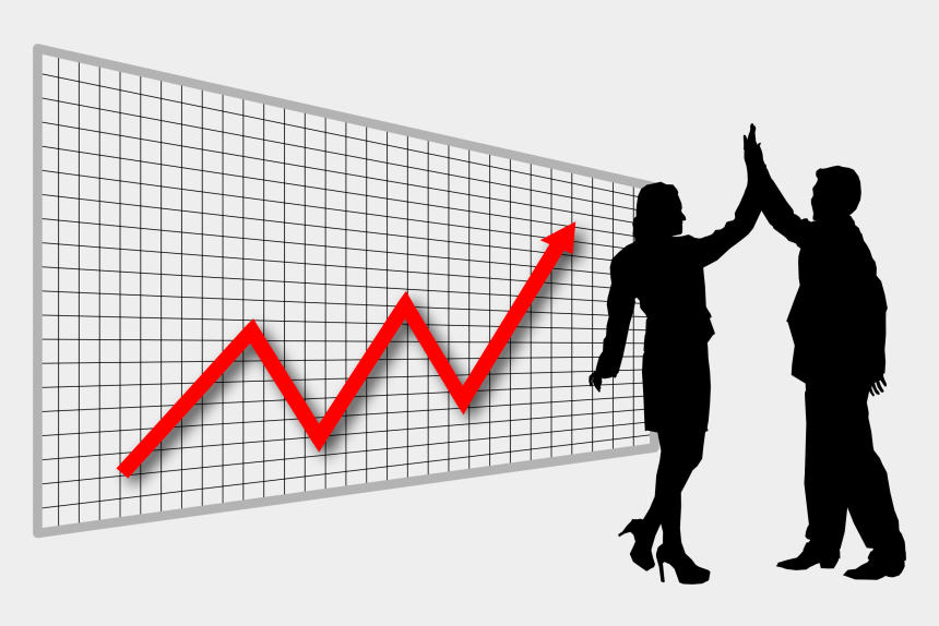 high five clipart, Cartoons - Profit High Five Graph In Perspective - Business Management Clipart