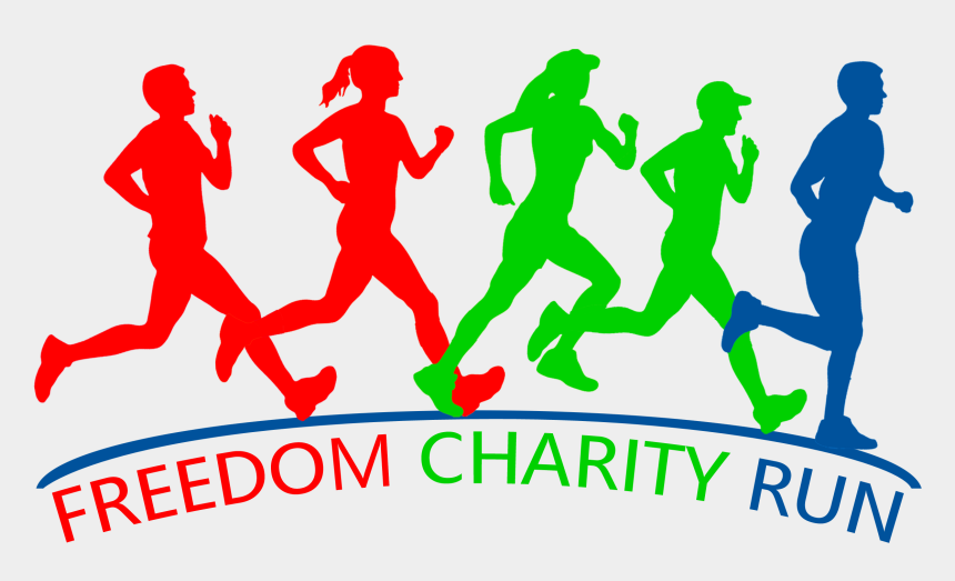 people running clipart, Cartoons - Freedom Charity Run - Vector Graphics