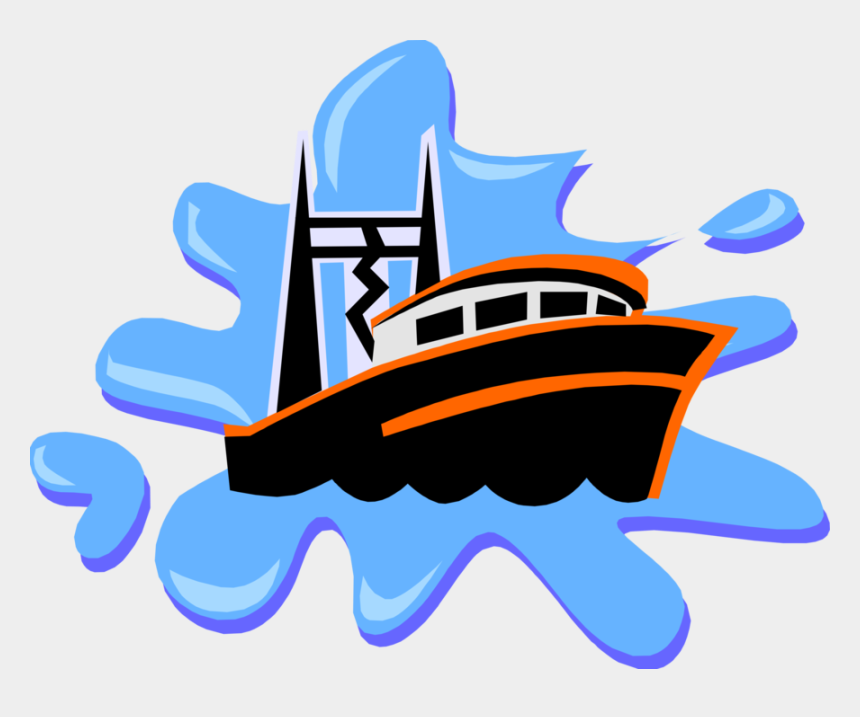 fishing boat clipart, Cartoons - Vector Illustration Of Commercial Fishing Trawler Boat - Anchor Picture For Kids