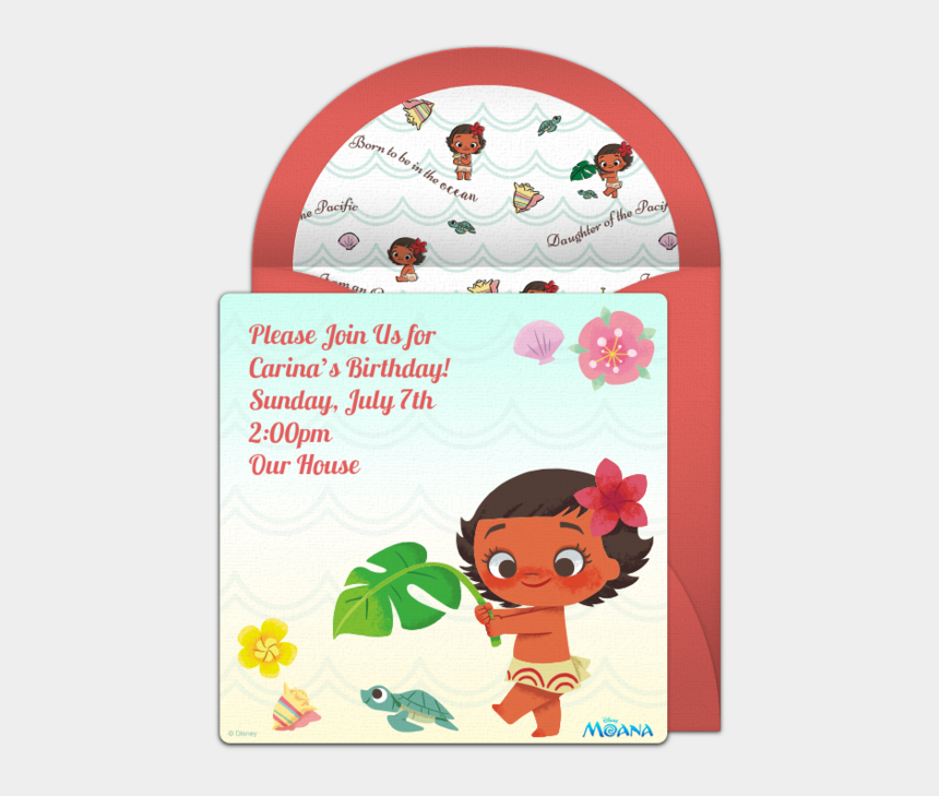 baby moana and turtle clipart, Cartoons - Baby Moana Online Invitation - Moana Baby Invitation For Christening