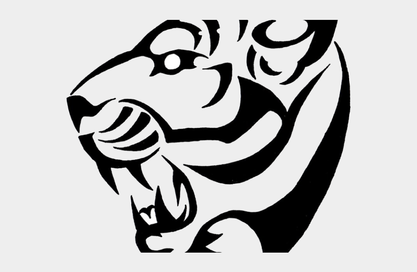 clipart of tiger black and white, Cartoons - Tiger Tattoos Clipart Black And White - Simple Tiger Tattoo Design