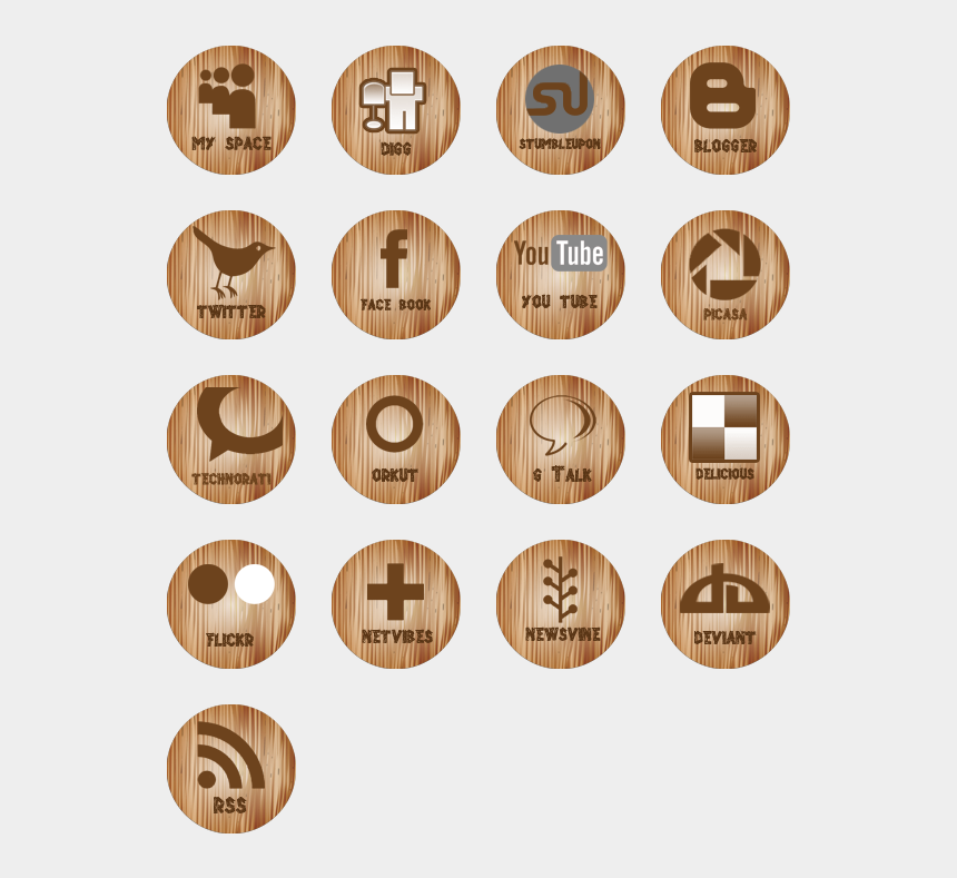 social media icons clipart, Cartoons - Wooden Social Media Icons Icon Pack By Kevin Subba - Wooden Social Media Icons