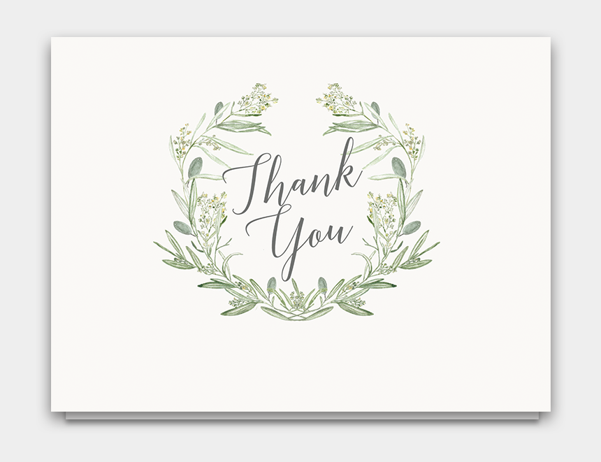 greenery wreath clipart, Cartoons - Laurel Wreath Greenery Wedding Thank You Cards - Olive Flower Watercolor