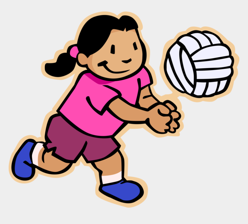 kids playing volleyball clipart, Cartoons - Vector Illustration Of Primary Or Elementary School - Child Care