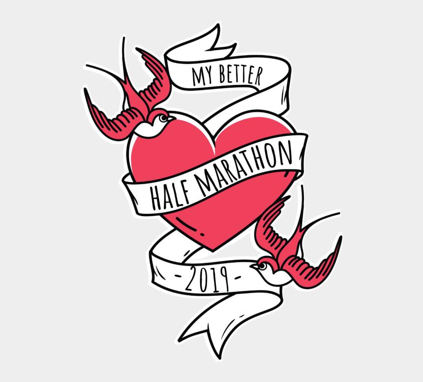 time is running out clipart, Cartoons - My Better Half Marathon 5k / 10k / Half / Half Relay - Vintage Mom Heart Tattoo