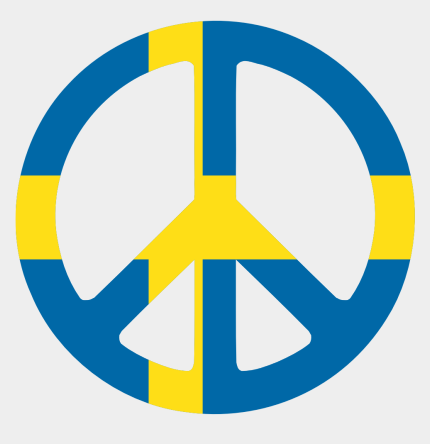 swedish flag clipart, Cartoons - Sweden Peace Symbol Flag 3 Cnd Logo Peacesymbol Scalable - Sweden Neutral