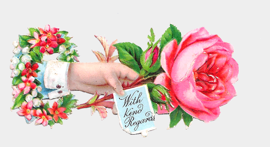 victorian roses clipart, Cartoons - Victorian Rose Clipart - Thank You Flower Hand