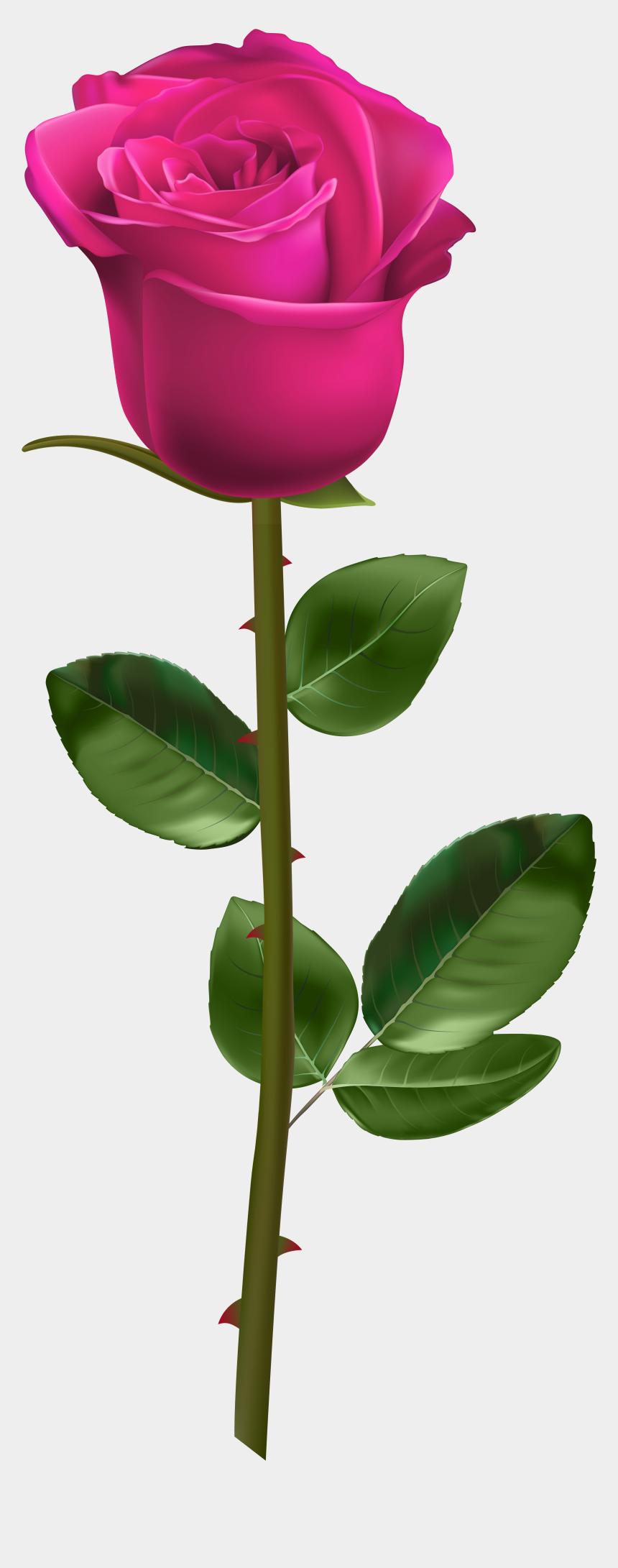 stem clipart, Cartoons - Clip Art Pink Roses - Red Rose With Stem