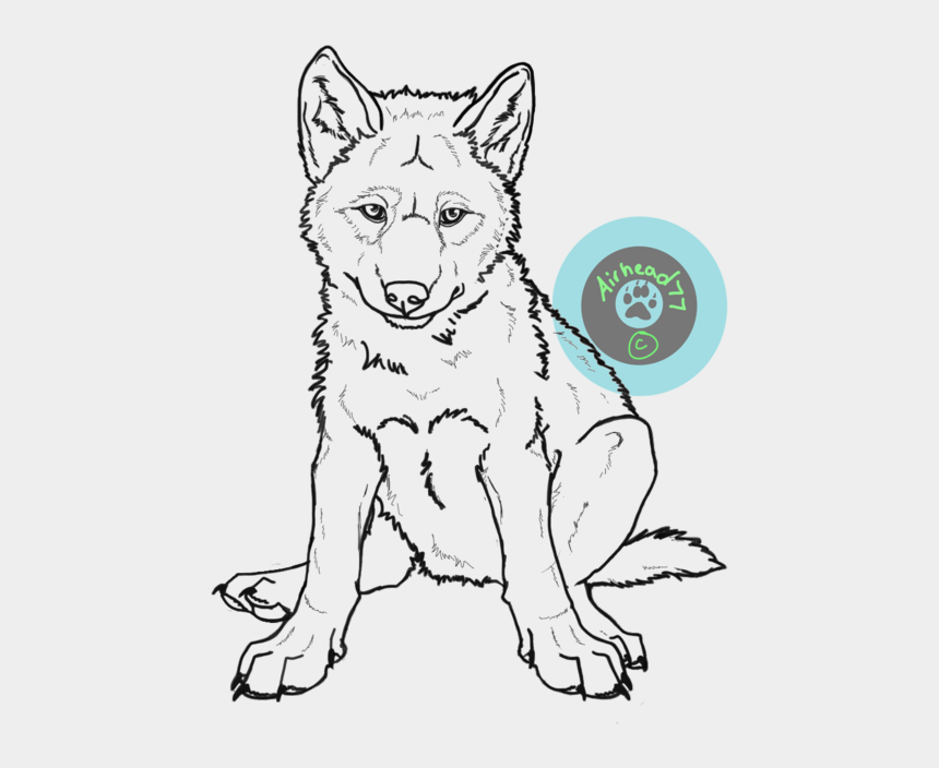 husky clipart, Cartoons - Us/clipart/drawn Husky Wolf - Wolf Pup Sitting Drawing