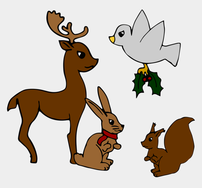 rudolph the red nosed reindeer clipart, Cartoons - Christmas, Animals, Bird, Hare, Squirrel - Christmas Day