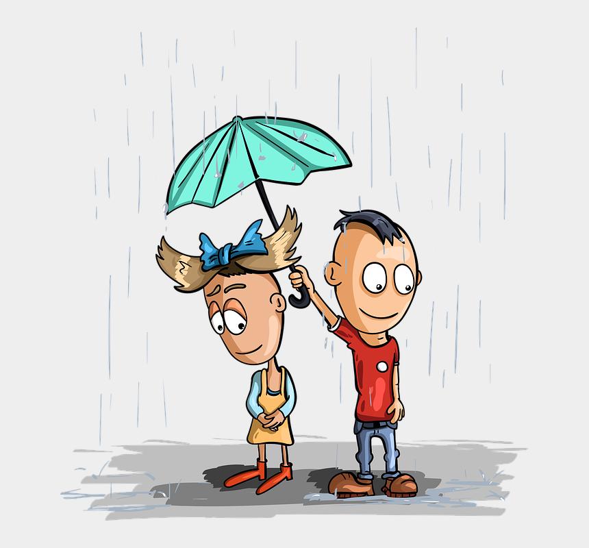 raining umbrella clipart, Cartoons - Rain Kids Umbrella Girl Boy Wet Childhood Nicely - Child