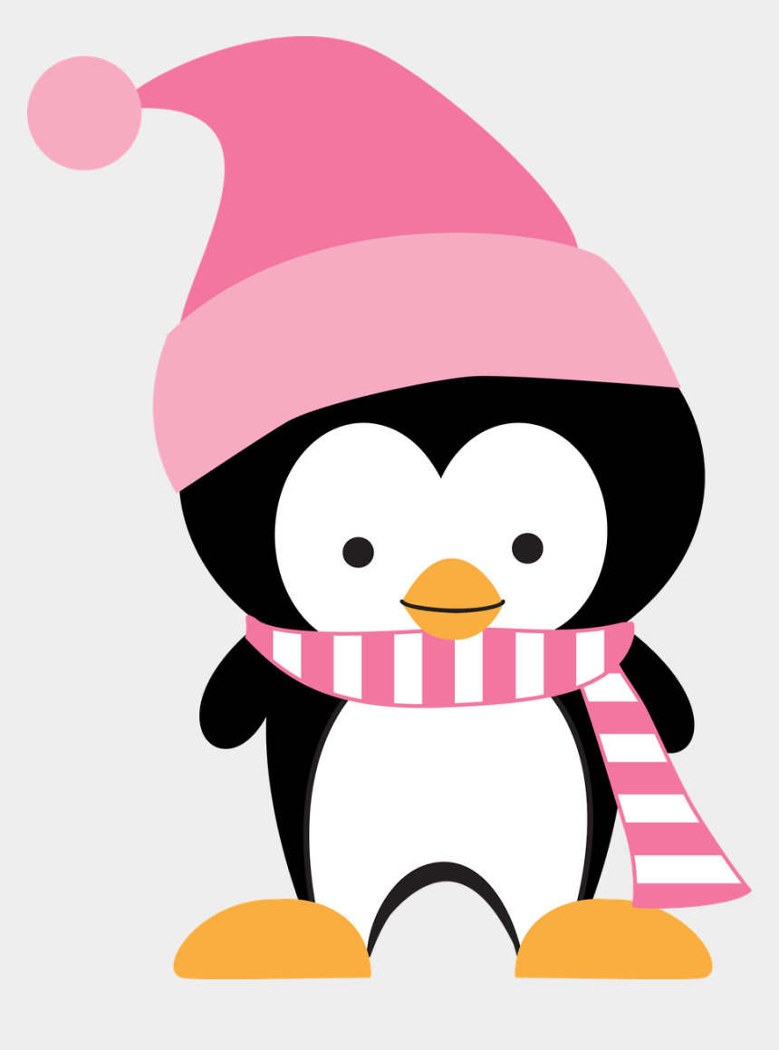 cute christmas animal clipart, Cartoons - Christmas Penguin Clipart - Pink Penguin Clip Art