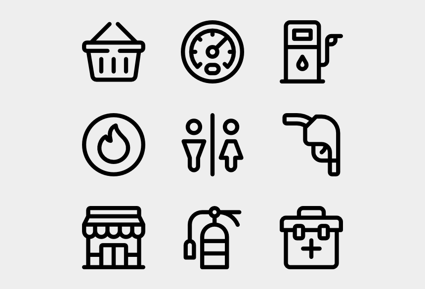 Gas Vector Gasoline Station Food Delivery Icon Line Cliparts Cartoons Jing Fm