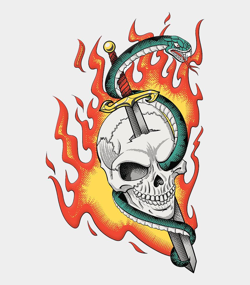 skull clipart vector, Cartoons - Snake Vector Skull Illustration - Sword With Snake