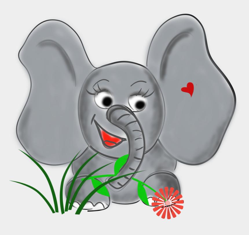 grey baby elephant clipart, Cartoons - Painted Baby Elephant On White Background - Cartoon