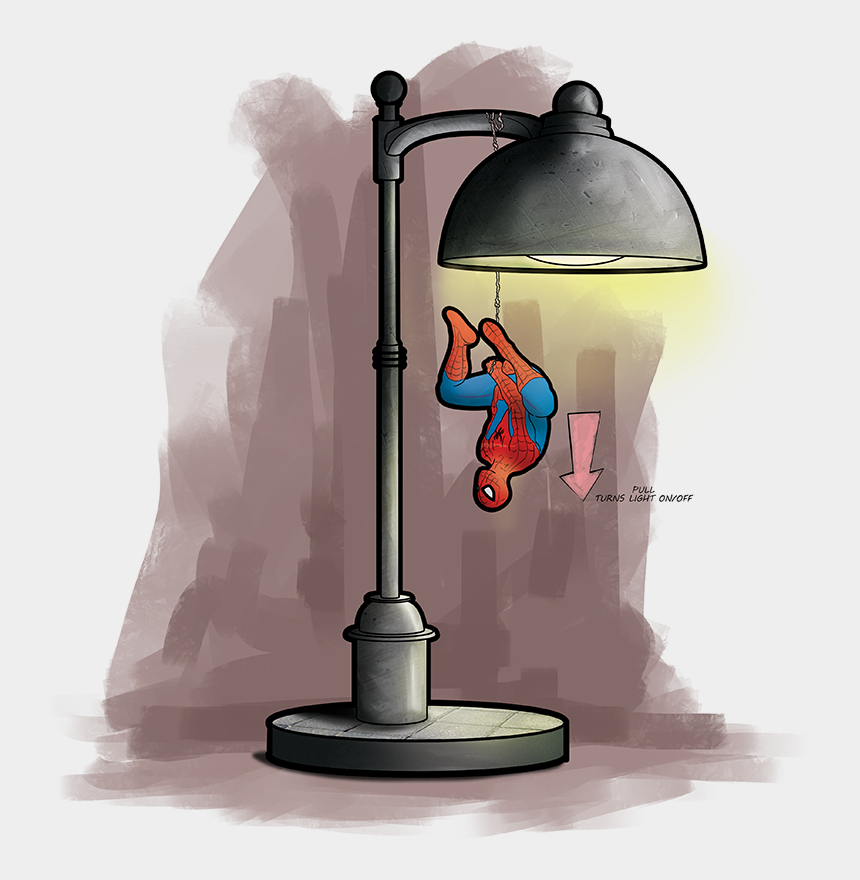 desk lamp clipart, Cartoons - Spiderman Desk Lamp - Illustration