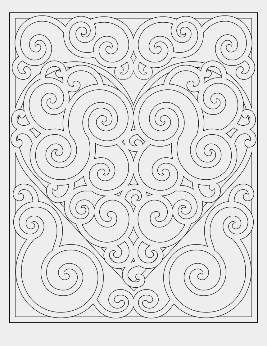 adult coloring clipart, Cartoons - Drawn Swirl Coloring - Valentines Day Mandalas For Coloring
