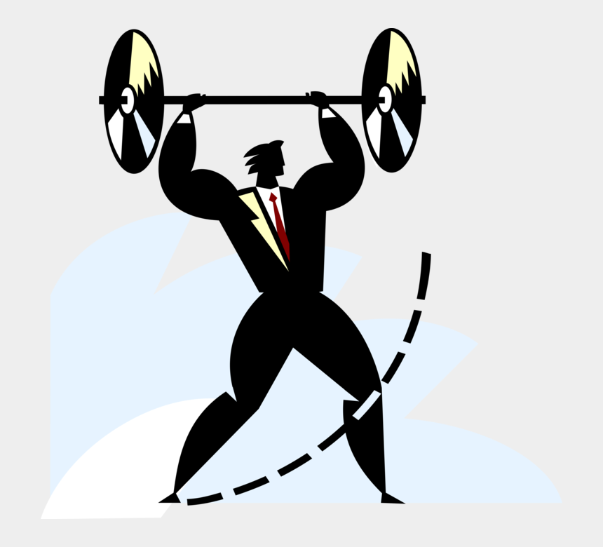 strength training clipart, Cartoons - Vector Illustration Of Businessman Weightlifter Lifting - Olympic Weightlifting