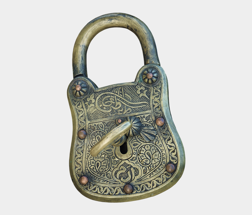 vintage padlock clipart, Cartoons - Padlock, Castle, Old, Shiny, Protect - Antique Lock With Transparent Background