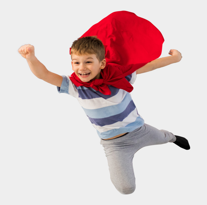 boy jumping on trampoline clipart, Cartoons - A Boy Wearing A Cape And Flying - Kid Fly Png