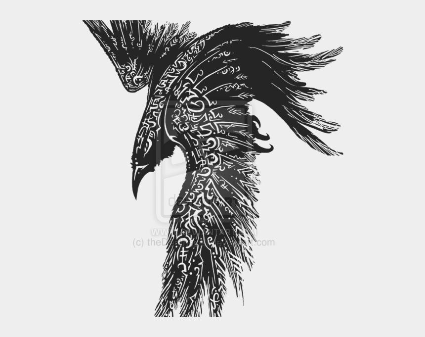 odin clipart, Cartoons - And Tattoo Muninn Celts Common Huginn Odin - Celtic Raven Tattoo