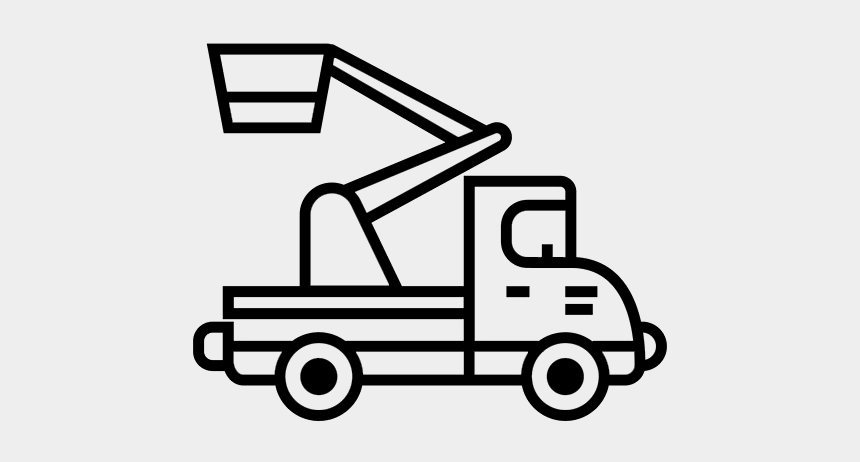 cherry picker clipart, Cartoons - Truck Mounted Cherry Pickers - Food Truck Icon Line