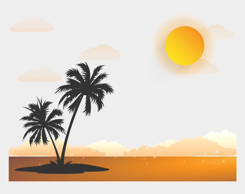 sunrise sunset clipart, Cartoons - Sunrise Png Hd Quality - Transparent Palm Tree Vector