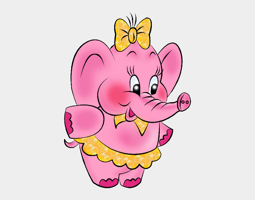 pink baby elephant clipart, Cartoons - Pink Elephant Dressed In Yellow - Pink Cute Elephant Cartoon