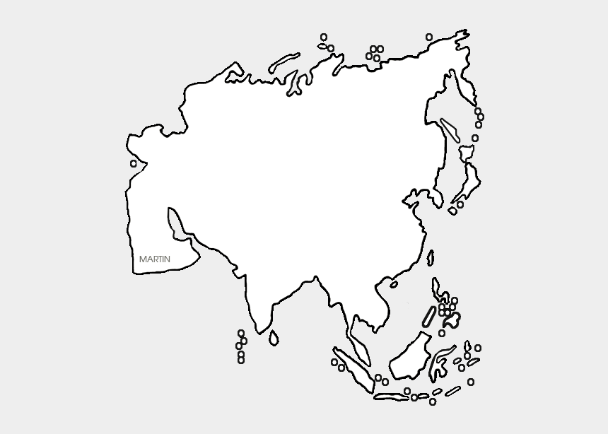 Asia Map - Asia Continent In White, Cliparts & Cartoons