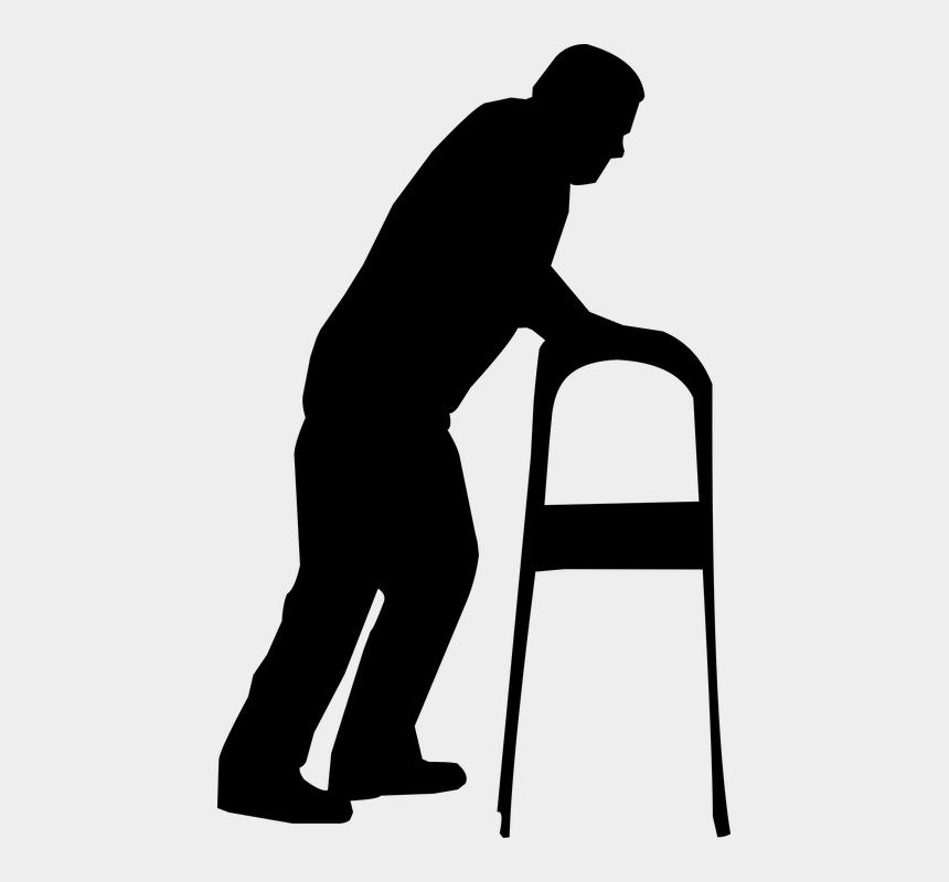 old man walker clipart, Cartoons - Silhouette, Man, Old, Struggling, Walker - Old Man With Walker Silhouette