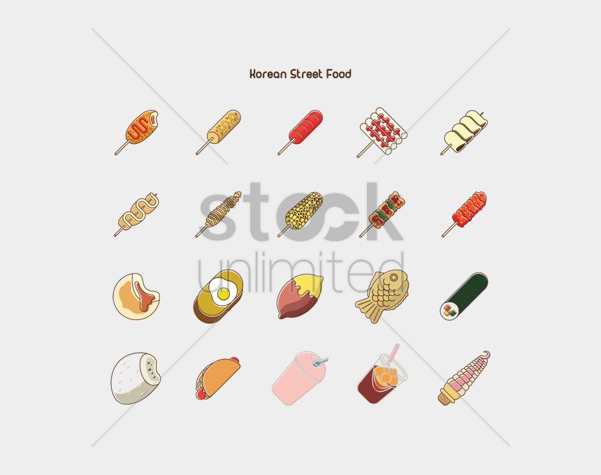 korean food clipart, Cartoons - Korean Street Food Collection V矢量图形 - Korean Street Food Skewers