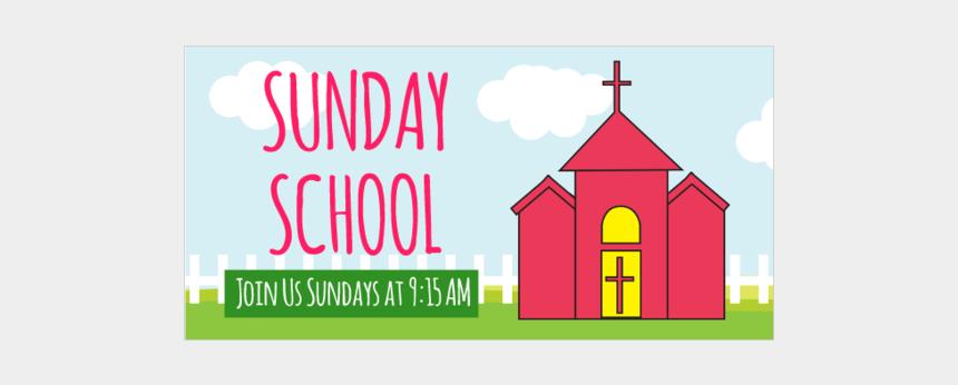 sunday school promotion clipart, Cartoons - Sunday School Vinyl Banner With Time - Sunday School Banner Clipart