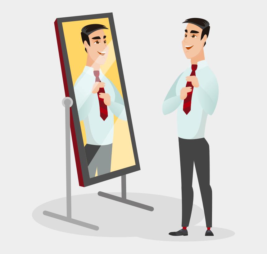 man looking in mirror clipart, Cartoons - Man Looking In Mirror Illistration - Person Looking In Mirror Cartoon